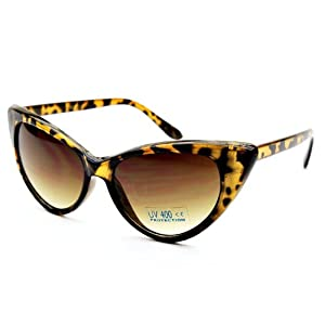 Retro 60s Vintage High Pointed Cat Eye Sunglasses (Tortoise, Black)