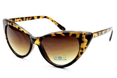 Retro 60s Vintage High Pointed Cat Eye Sunglasses (Tortoise, - Sunglasses Hollywood