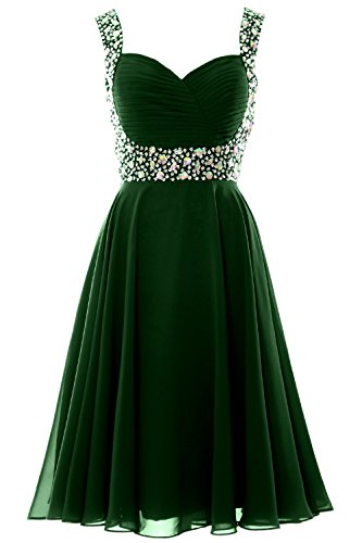 MACloth Elegant Straps Cocktail Dress Chiffon Short Wedding Party Formal Gown Verde Oscuro