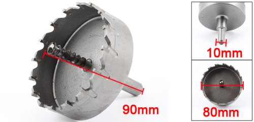 uxcell Triangle Shank 6mm Twist Drill Bit 80mm Dia Stainless Steel Hole Saw Cutter by uxcell (Image #1)
