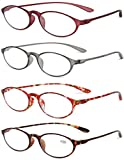 VEVESMUNDO Reading Glasses Flexible Bendable Floral Eyeglasses For Women Men (Reading Glasses 4 Pack, 3.0)