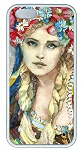 BESTER Ukrainian Girl Watercolor DIY Rubber White iphone 5s Case Perfect By Custom Service