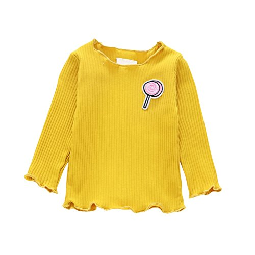 Soly Tech Baby Girls Long Sleeve Applique Cotton Knitted T-Shirts Base Layer Tops ()