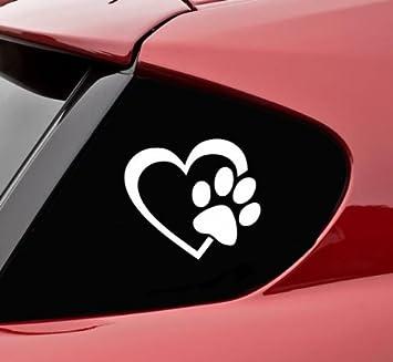 Pet Dog Paw Love Heart Decal Car Sticker Window Bumper Laptop Wall Vinyl Decor
