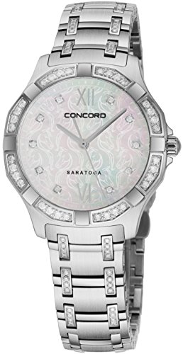 - Concord Saratoga Womens Stainless Steel Real Diamond Watch - 31mm Mother of Pearl Face with Second Hand and Sapphire Crystal Analog Quartz Ladies Watch - Swiss Made Luxury Wristwatch for Women 0320286