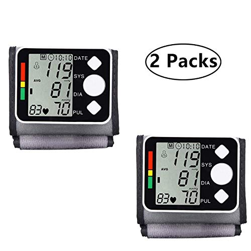 Blood Pressure Monitor, Fully Automatic Accurate Wrist Blood Pressure Monitor, Double Mode, Intelligent Pressure with Large LCD Display&Adjustable Cuff,2Packs (Best Blood Pressure Monitor Uk)