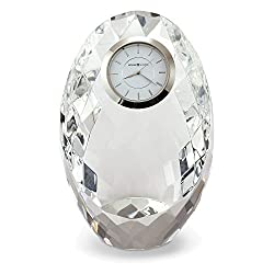 Rhapsody Oval Faceted Optical Crystal Table Clock
