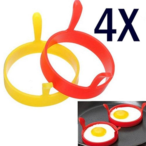 Iuhan 4Pcs Silicone Round Egg Rings Pancake Mold Ring W Handles Nonstick Fried Frying (Color Random)