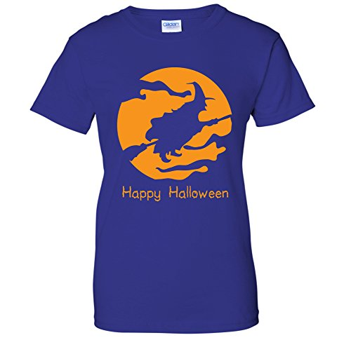 Flying Witch On A Broomstick Gloomy Happy Halloween Costume WOMENS T-Shirt (XL Royal) -