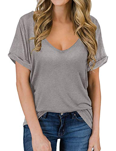 Summer Shirts for Women Loose Flowy Tops Short Sleeve Deep V Neck Tshirts Oversized Tees Grey