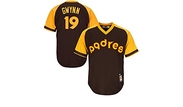 info for bcbaa f9103 VF San Diego Padres MLB Mens Majestic #19 Tony Gwynn Cooperstown Cool Base  V Neck Jersey Brown Big & Tall Sizes