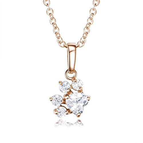 - Viola Tricolor Cute Paw Rose Gold Necklace Clear CZ Crystal Charm Necklace Dog Poppy Animal Paw Charm Necklace Rose Gold Plated Bear Animal Paw Necklace Best friendship Gifts for Women Teen Girls