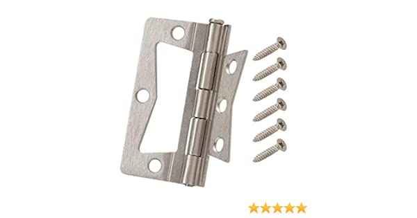 Everbilt 3-1/2 in  x 1-1/2 in  Satin Nickel Non-Mortise Hinges (2-Pack)