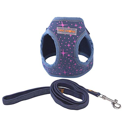 (Frideing Pet Product Soft Puppy Cowboy Dog Harness+Leash Set Cat Chest Pet Walking Fabric British Style 4 Colors B S)