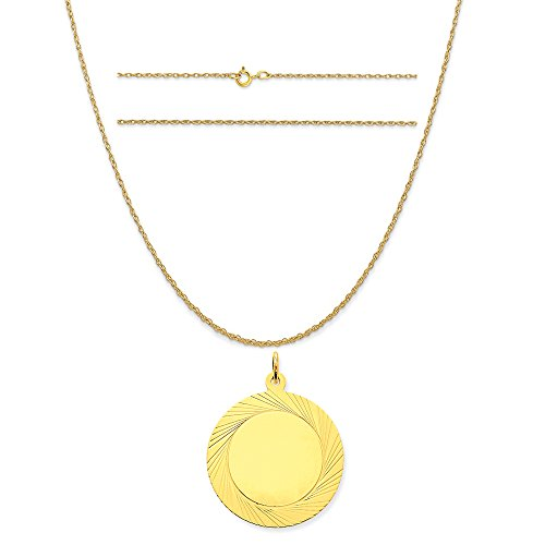 14k Yellow Gold Etched Design .027 Gauge Circular Engravable Disc Charm on Rope Chain Necklace, 20