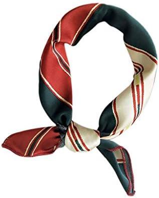 Double Sided Head-Neck Wristband Decor Satin Silk Square Stylish Scarf 50x50cm.