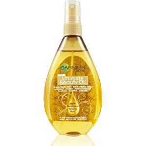GARNIER - Huile sèche Corporelle - Ultimate Beauty Oil - Argan , macadamia ,amande , rose -Spray 150ml