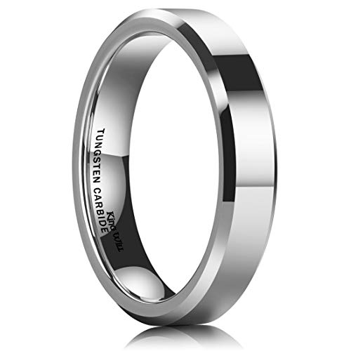 King Will Basic Men 4mm Tungsten Carbide Wedding Ring Shiny Finish Plain Beveled Edge Engagement Band 10 ()
