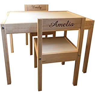 Personalised Childrens Kids IKEA Table And Chairs 2 Names (Engraving Front  U0026 Back)