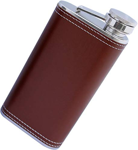 Harland 8 oz Wide Mouth Premium Pocket Flask 18/8#304 Stainless Steel Highest Food Grade | Soft Touch PU Leather Wrap | Classic Retro Style by Harland