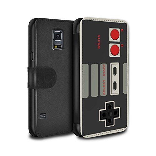 STUFF4 PU Leather Wallet Flip Case/Cover for Samsung Galaxy S5/SV / Nintendo Classic Design / Games Console Collection