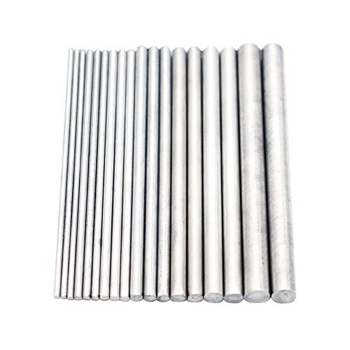 Eowpower 18Pcs Diameter 2-8mm Stainless Steel Solid Round Rods Lathe Bar Assorted for DIY Craft, Length 100mm