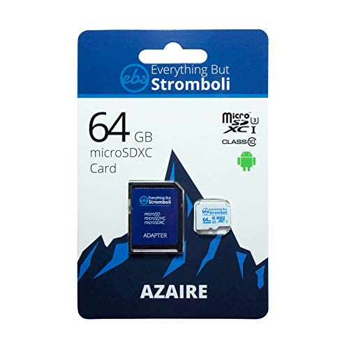 Everything But Stromboli 64GB MicroSD Azaire Memory Card Plus Adapter, Speed Class 10, U3, UHS-1, SDXC, TF MicroSDXC Card Works with Compatible Android Phones, Galaxy Tablets, Nintendo Switch