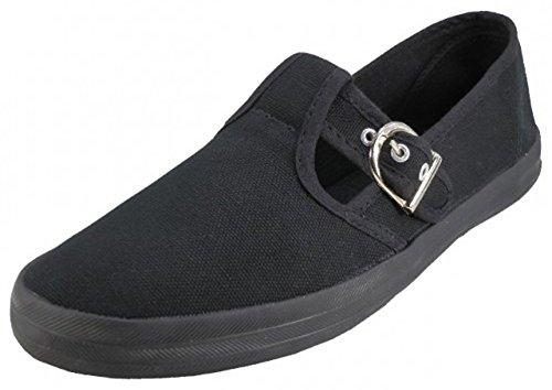 U-245L Women's Mary Jane Shoes Canvas Flats T-Strap Fashion Ballet Sneakers 5 Colors (8 B(M) US, Black)