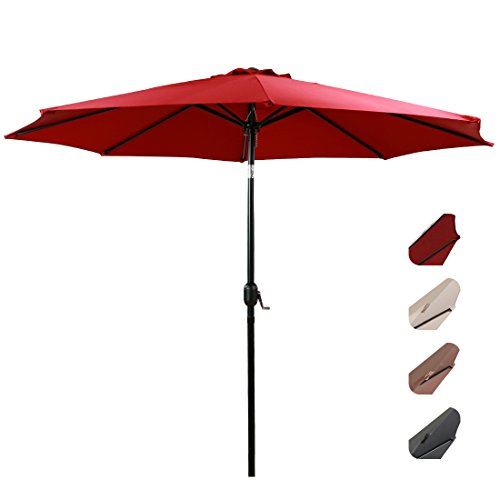 EASELAND Patio Umbrella 9-Feet Outdoor Table Market Umbrella Push Button Tilt and Crank Garden Parasol with Crank Winder, 8 Ribs, Red