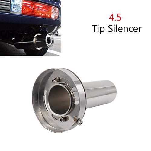 4.5'' Adjustable Stainless Steel Round Exhaust Muffler Tip Removable Silencer Inner Silence