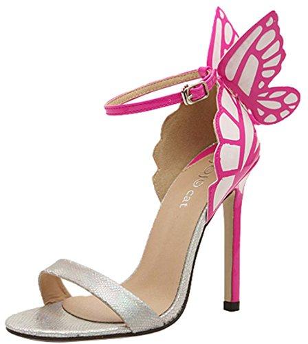 Janeyer Women's New Fashion Contrast Color Butterfly Vogue High Heels Sandal Silver (Vogue High Heel Sandals)