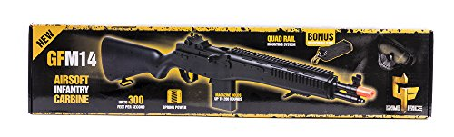 Crosman GFASM14B M14 Spring Powered Single Shot Bolt Action Infantry Carbine, Black, 6.0mm