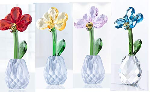 Qf Crystal Flower Dreams Phalaenopsis Orchid Figurine Crystal Ornament Decorations 4-Color Set