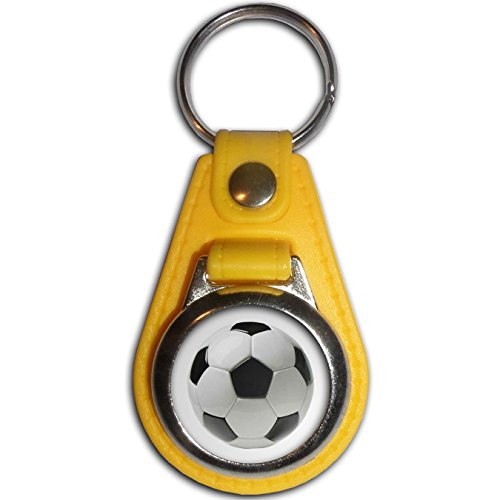Football - Yellow Plastic / Metal Medallion Coulor Key Ring - Medallion Football Football
