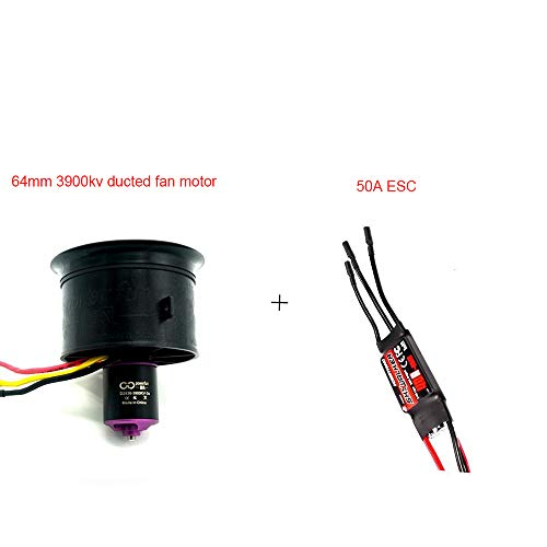 Powerfun Ducted Fan 64mm 11 Blades RC Brushless Motor 3900KV/3S RC Airplane (64mm 3900KV/3S ducted Fan Motor+ESC50A) (Electric Ducted Fan Rc Planes)