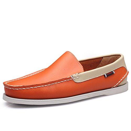 Heren Casual Slip Op Rijdende Bootschoenen Klassiek Lappendeken Met Patchwork Koeienhuid 6025 Oranje En Beige