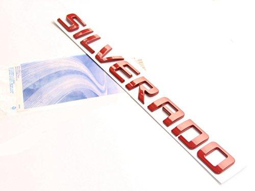 Yoaoo® 1x OEM Red Silverado Nameplate Letter Alloy Emblem Badge 2011-2015 Original Silverado Chevrolet Shiny Glossy New
