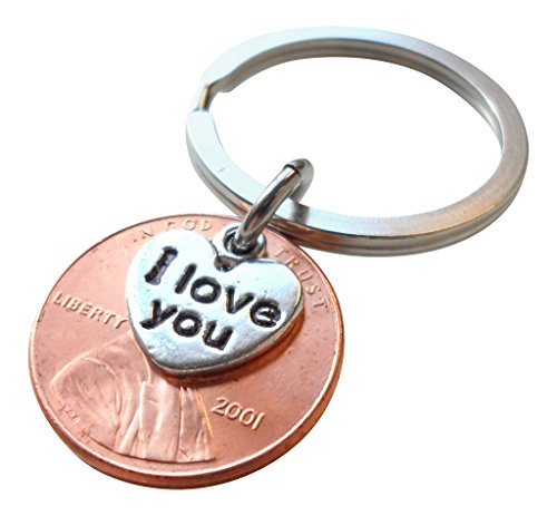 I Love You Heart Charm Layered Over 2001 Penny Keychain, 18 year -