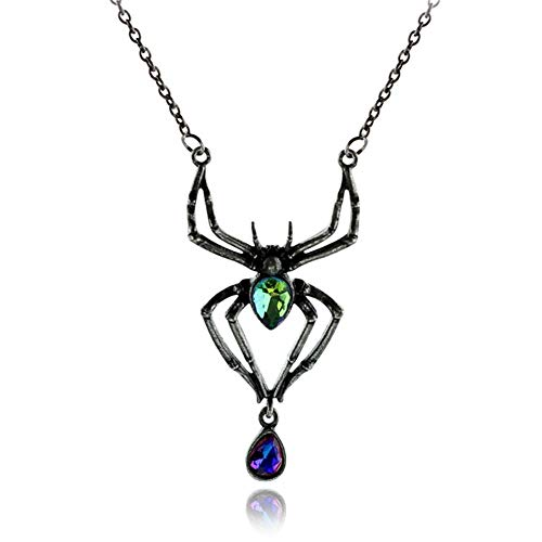 wsloftyGYd Vintage Jewelry Gift Spider Pattern Cubic Zircon Drop Pendant Women Necklace Europe and The United States Halloween Alloy Jewelry Simple Diamond Spider Necklace Retro Fashion Gun Black ()
