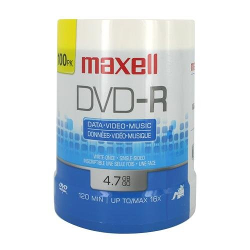 Maxell : DVD-R Discs, 4.7GB, 16x, Spindle, Gold, 100/Pack -:- Sold as 2 Packs of - 100 - / - Total of 200 Each by Maxell