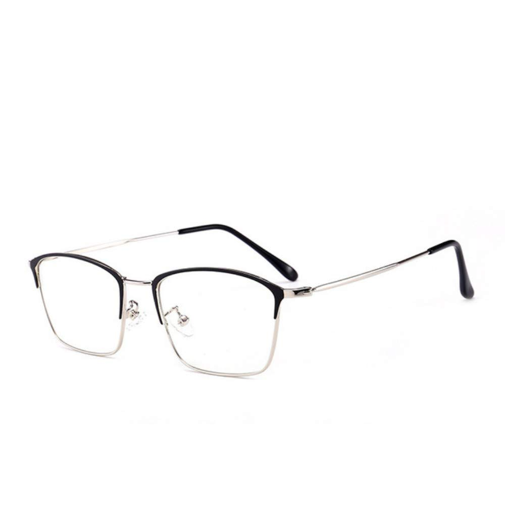 Retro square glasses frame///art anti-blue light flat mirror girls black silver frame