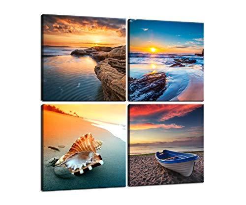 4 Panels Wall Art Set Sunrise Sea Bay Shell Canvas Art Wall Decor Framed Ready to Hang (16x16Inchx4Pcs)