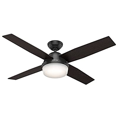 "Hunter Fan Company 59251 Hunter 52"" Dempsey Damp Matte Black Ceiling Fan with Light and Remote, Pwt, Nickel, B/S, Silver"