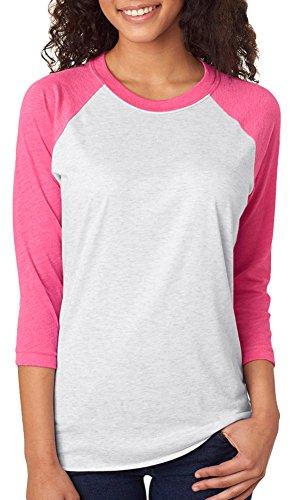 Next Level Unisex 3/4-Sleeve Raglan T-Shirt, Vintage Pink/HTHR Wht, -