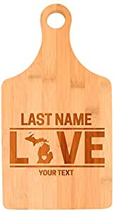 Custom Any Text Love Michigan State Great Lakes Personalized Paddle Shaped Bamboo Cutting Board