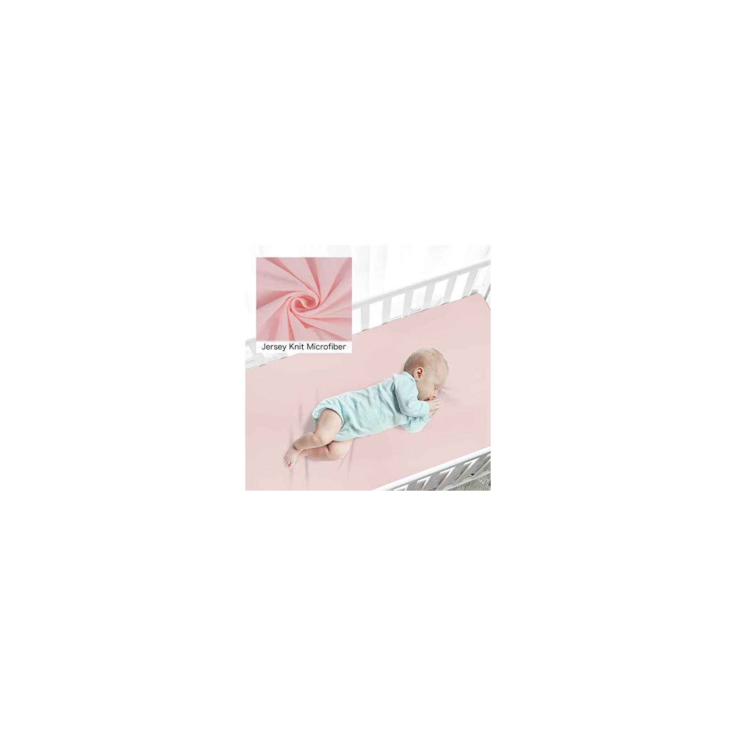 TILLYOU Jersey Knit Pack N Play Sheets Fitted, Mini Portable Crib Sheets Set for Girls Boys, Ultra-Soft Breathable Hypoallergenic Playard Playpen Sheets, 2 Pack Peachy Pink & Lt Gray