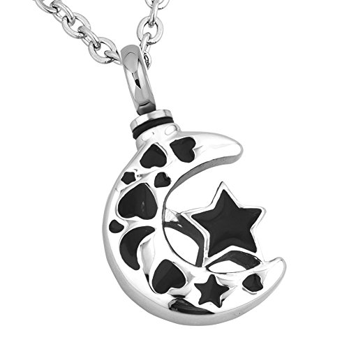ShinyJewelry Star Moon Urn Necklace for Ashes Memorial Keepsake Cremation Pendant ()