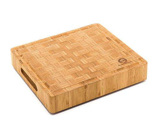 Professional End Grain Cutting Board (Small End Grain Bamboo Cutting Board | Professional, Antibacterial Butcher Block | Non-Slip Rubber Feet by Top Notch)