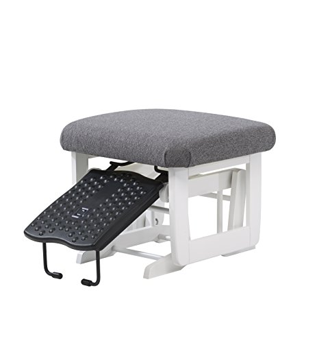Dutailier Nursing Ottoman for Modern Gliders, White/Dark Grey