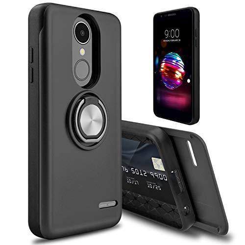 LG K30 Case, LG Premier Pro LTE Case, LG K10 2018 Case, Tevero [Cards Slot] Rotating Ring Kickstand Holder Drop Protection Hybrid Dual Layer Shockproof Phone Case Cover for LG Phoenix Plus (Black)